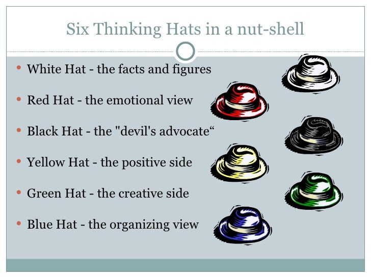 the six thinking hats essay Free college essay six thinking hats the age at which australians learn to drive is too young white hat: sixteen is the legal age in which.