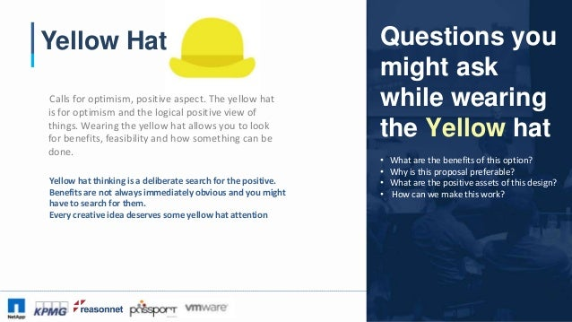 #CAA16 Yellow Hat Calls for optimism, positive aspect. The yellow hat is for optimism and the logical positive view of thi...