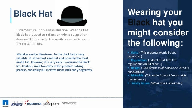 #CAA16 Black Hat Judgment, caution and evaluation. Wearing the black hat is used to reflect on why a suggestion does not f...