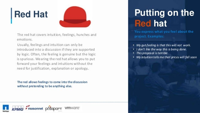 #CAA16 Red Hat The red hat covers intuition, feelings, hunches and emotions. Usually, feelings and intuition can only be i...