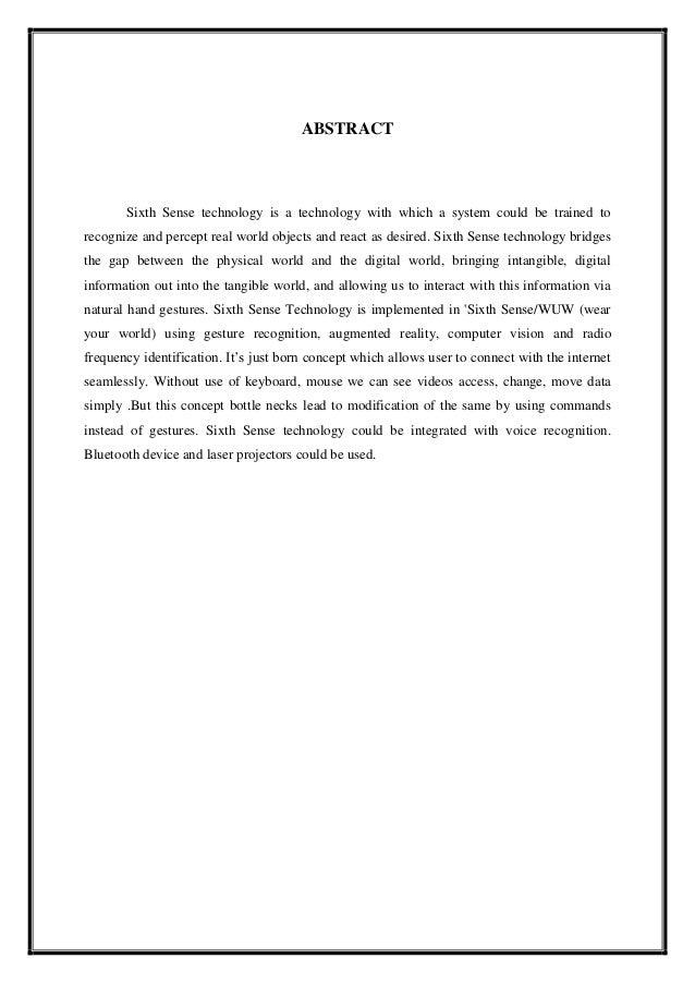 Pdf documentation sense sixth technology