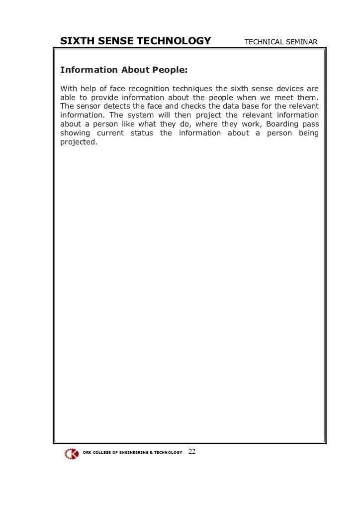 SIXTH SENSE TECHNOLOGY TECHNICAL SEMINARInformation ...