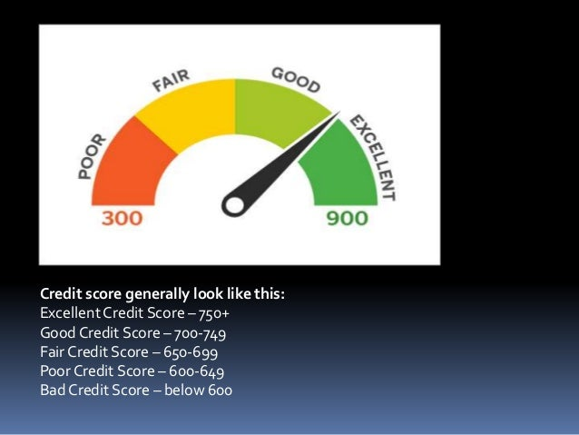 Credit score generally look like this: Excellent Credit Score – 750+ Good Credit Score – 700-749 Fair Credit Score – 650-6...