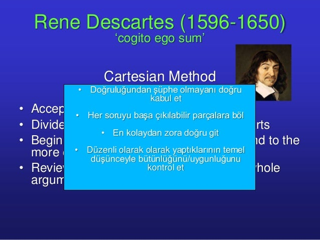 the four steps of the cartesian method of rene descartes Rene descartes was a method is broken down into four steps of how to find the truth about ones own existence this is called cartesian doubtthe.