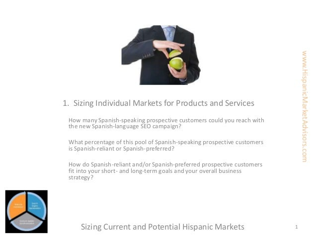 1. Sizing Individual Markets for Products and Services How many Spanish-speaking prospective customers could you reach wit...