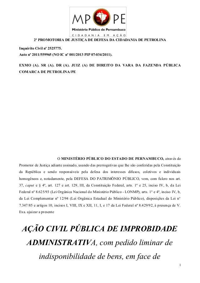 2ª PROMOTORIA DE JUSTIÇA DE DEFESA DA CIDADANIA DE PETROLINA Inquérito Civil nº 2525775. Auto nº 2011/559965 (NO IC nº 001...