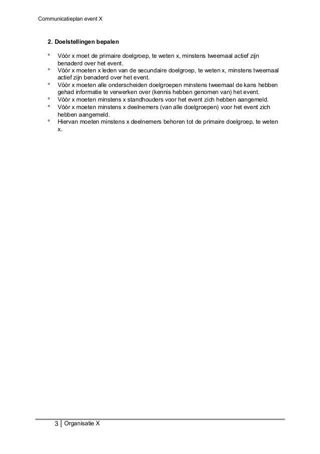 Communicatieplan event X 2. Doelstellingen bepalen ° Vóór x moet de primaire doelgroep, te weten x, minstens tweemaal acti...
