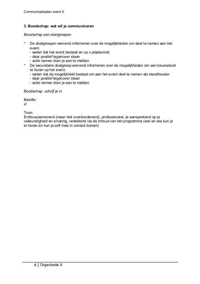 Communicatieplan event X 3. Boodschap: wat wil je communiceren Boodschap aan doelgroepen ° De doelgroepen wervend informer...