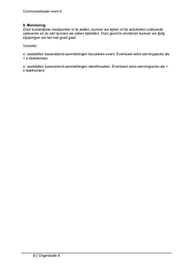 Communicatieplan event X 8. Monitoring Door tussentijdse meetpunten in te stellen, kunnen we kijken of de activiteiten vol...