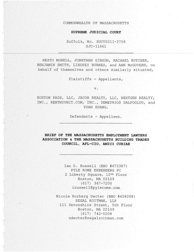 COMMONWEALTH OF MASSACHUSETTS SUPREME JUDICIAL COURT Suiiolk, No. SUCV2011-3756 SAC-11661 NESTO MONELL, JONATHAN GIBBON, R...