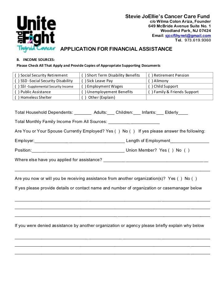 Sjccf Application For Financial Assistance 2012