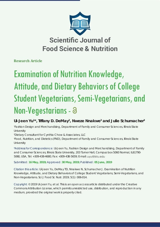 Scientifi C Journal Of Food Science Nutrition