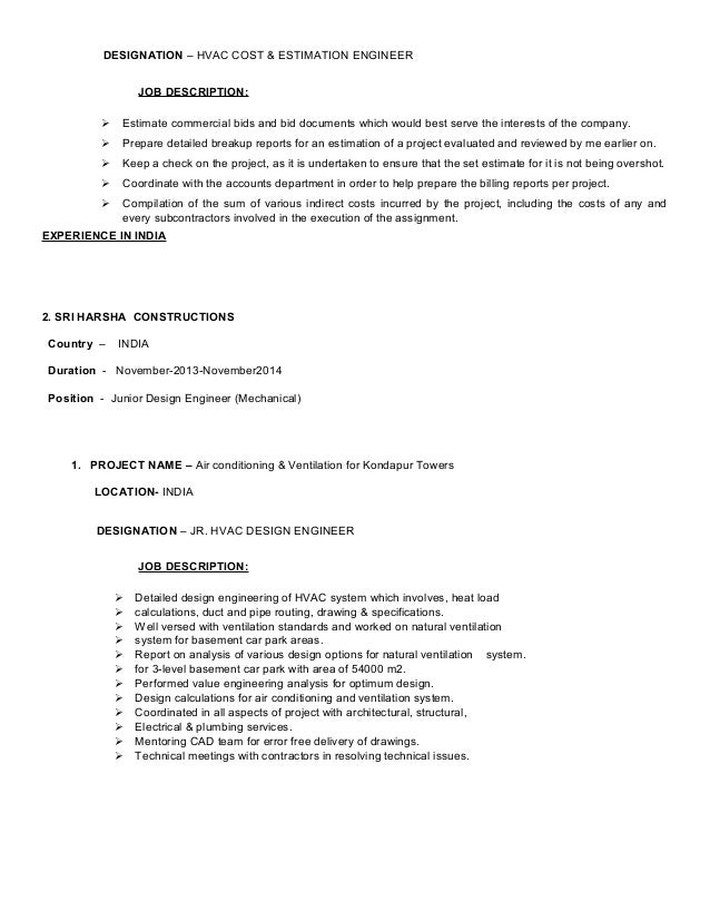 Hvac Design Hvac Design Job Description