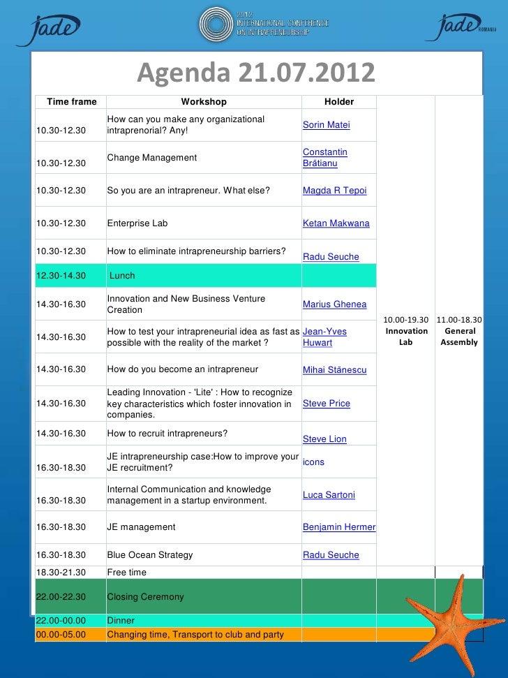 Agenda 21.07.2012  Time frame                     Workshop                            Holder               How can you mak...