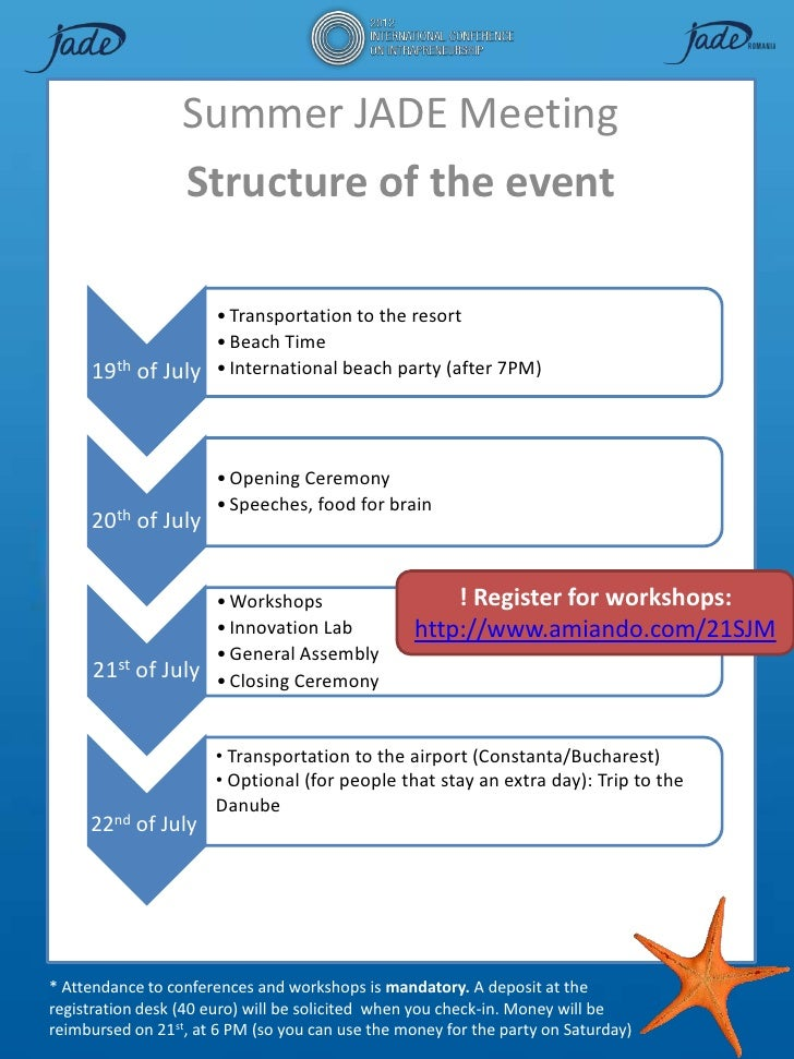 Summer JADE Meeting                  Structure of the event                      • Transportation to the resort           ...
