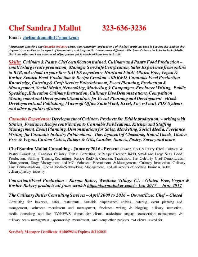 Chef Sandra Mallut Resume