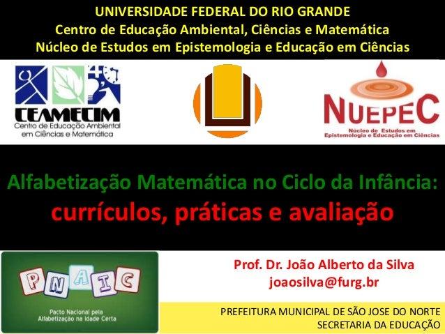 PREFEITURA MUNICIPAL DE SÃO JOSE DO NORTE SECRETARIA DA EDUCAÇÃO Alfabetização Matemática no Ciclo da Infância: currículos...