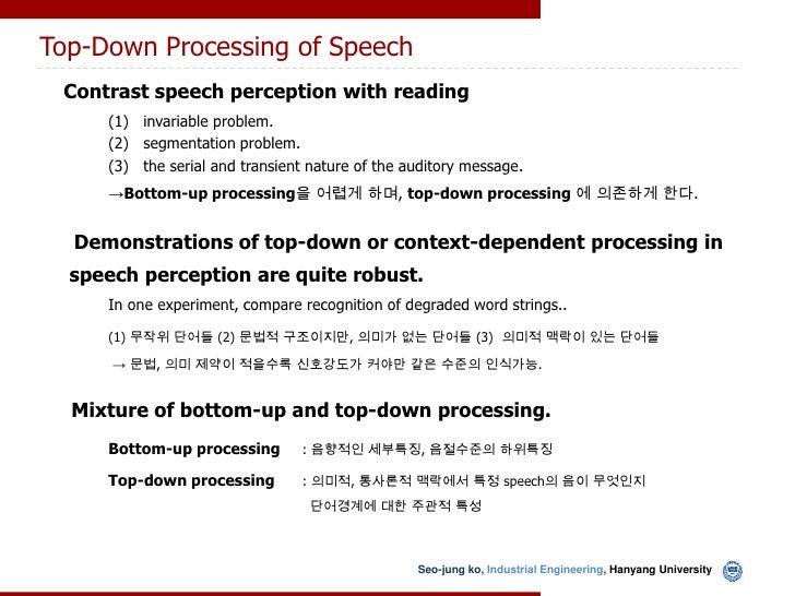 Speech–> Sensation and Judgement