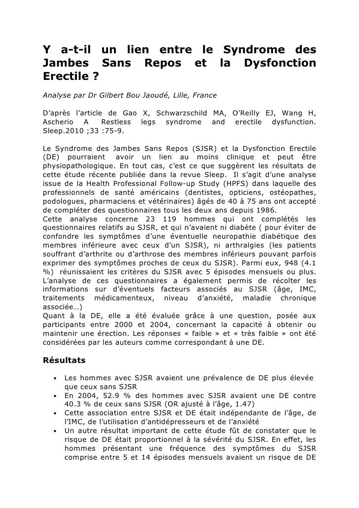 Y a-t-il un lien entre le Syndrome des Jambes Sans Repos et la Dysfonction Erectile ? Analyse par Dr Gilbert Bou Jaoudé, L...