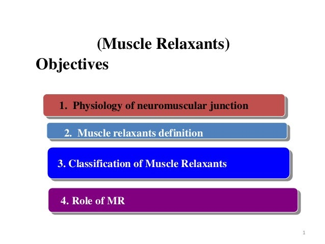 Neuromuscular blocker (Muscle Relaxants) Objectives 1. Physiology of neuromuscular junction  2. Muscle relaxants definitio...
