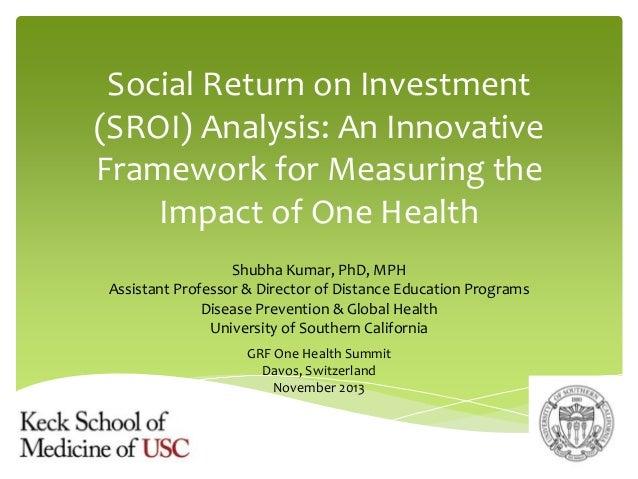 Social Return on Investment (SROI) Analysis: An Innovative Framework for Measuring the Impact of One Health Shubha Kumar, ...