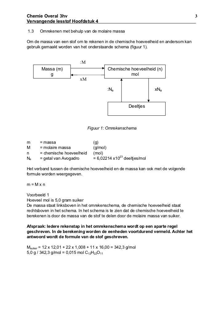 Molberekeningen vragen for Binas tabel 99