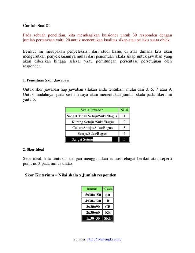 Skala Likert Metode Perhitungan Persentase Dan Interval