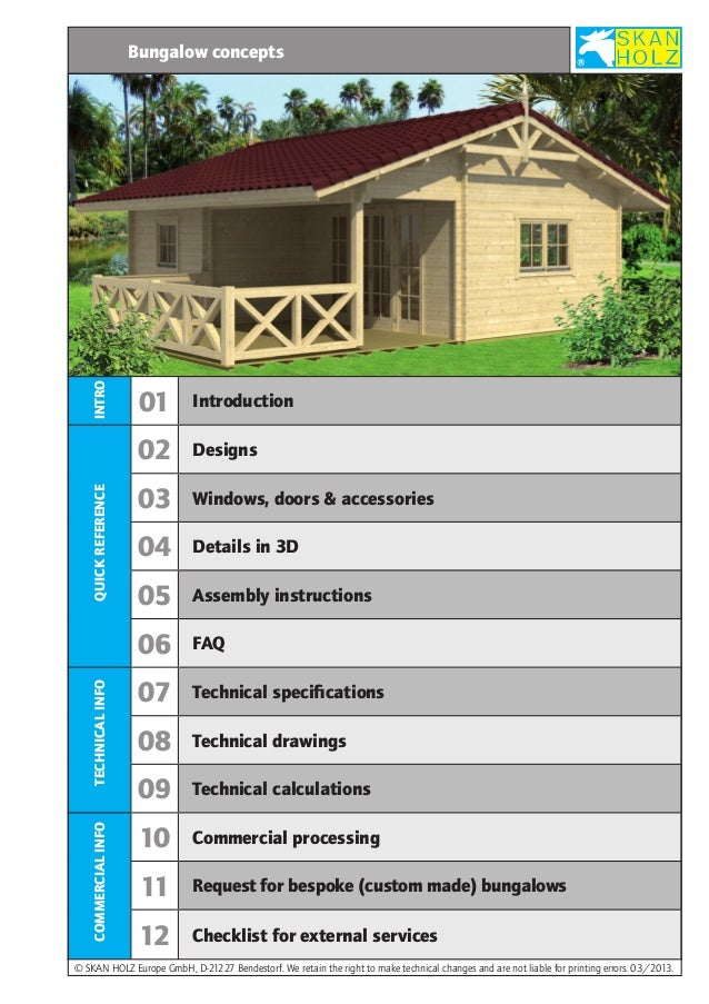 INTRO  Bungalow concepts  QUICK REFERENCE  Designs  03  Windows, doors & accessories  04  Details in 3D  05  Assembly inst...