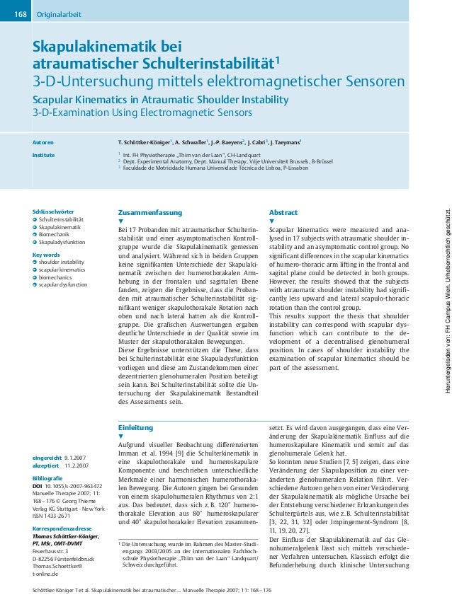 Skapulakinematik bei atraumatischer Schulterinstabilität1 3-D-Untersuchung mittels elektromagnetischer Sensoren Scapular K...