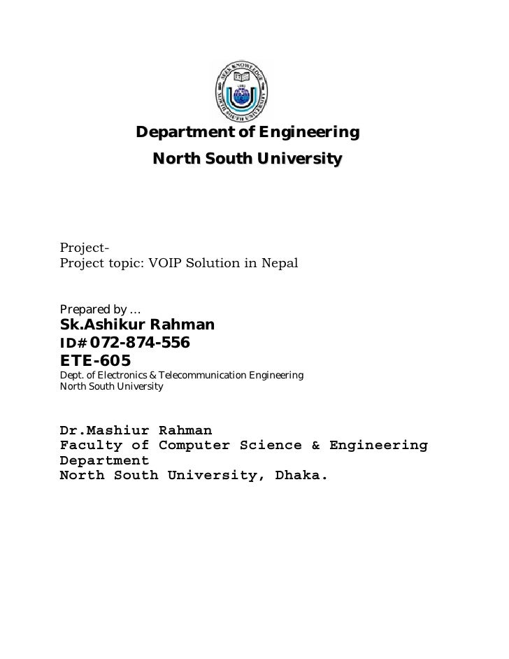 Department of Engineering                    North South University     Project- Project topic: VOIP Solution in Nepal   P...