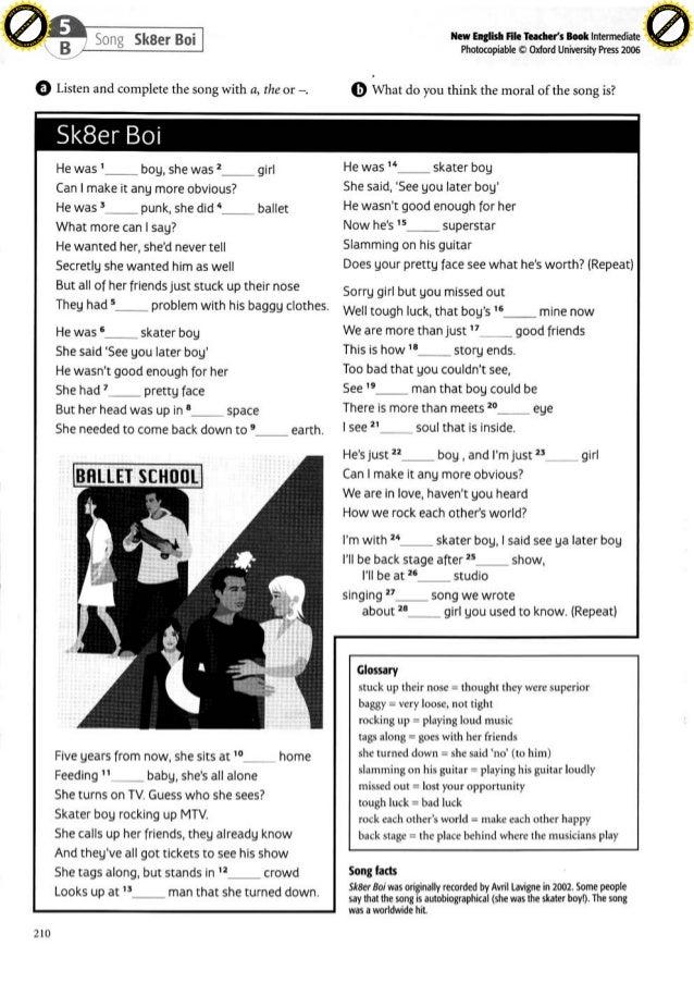 Song Worksheet Skater Boy