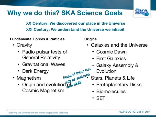 Why we do this? SKA Science Goals  XX Century: We discovered our place in the Universe  XXI Century: We understand the Uni...