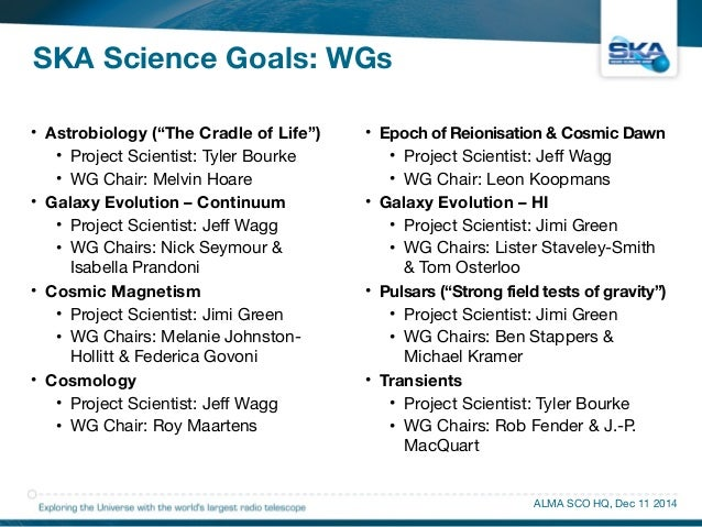 """SKA Science Goals: WGs  • Astrobiology (""""The Cradle of Life"""")  • Project Scientist: Tyler Bourke  • WG Chair: Melvin Hoare..."""