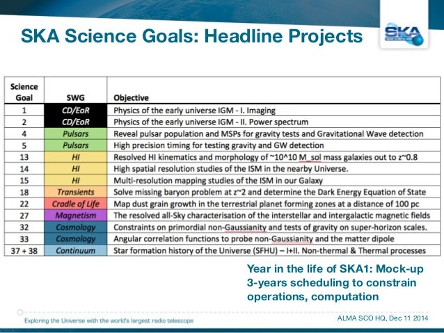 SKA Science Goals: Headline Projects  Year in the life of SKA1: Mock-up  3-years scheduling to constrain  operations, comp...