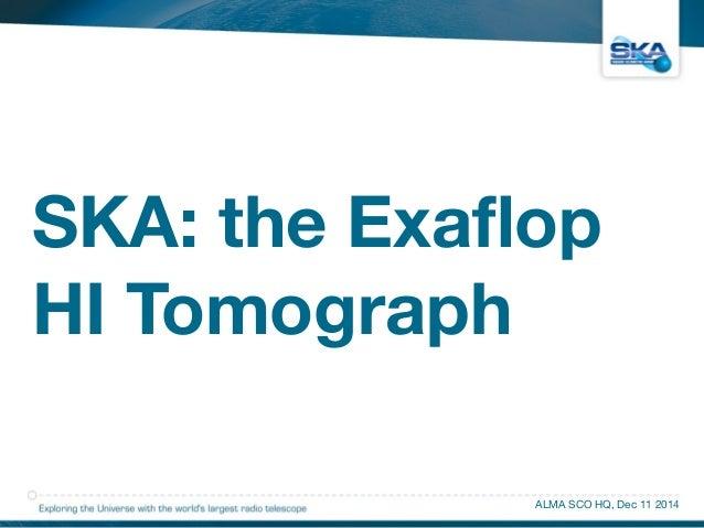 SKA: the Exaflop  HI Tomograph  ALMA SCO HQ, Dec 11 2014