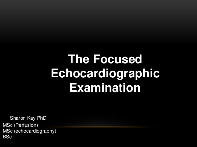 The Focused Echocardiographic Examination Sharon Kay PhD MSc (Perfusion) MSc (echocardiography) BSc