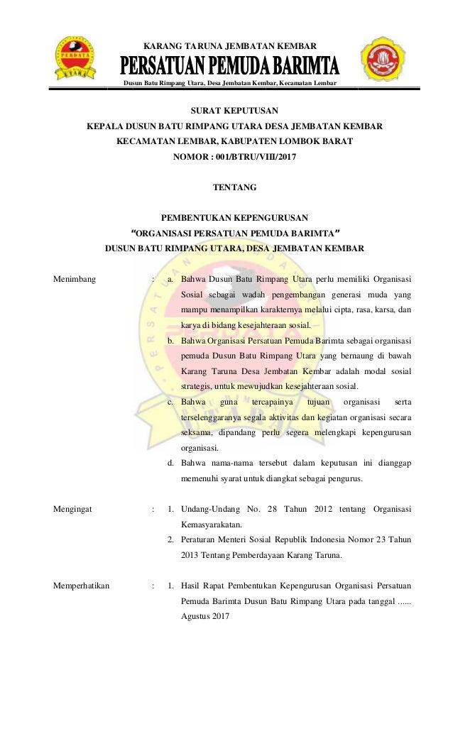 Contoh Sk Karang Taruna Rw - Guru Ilmu Sosial
