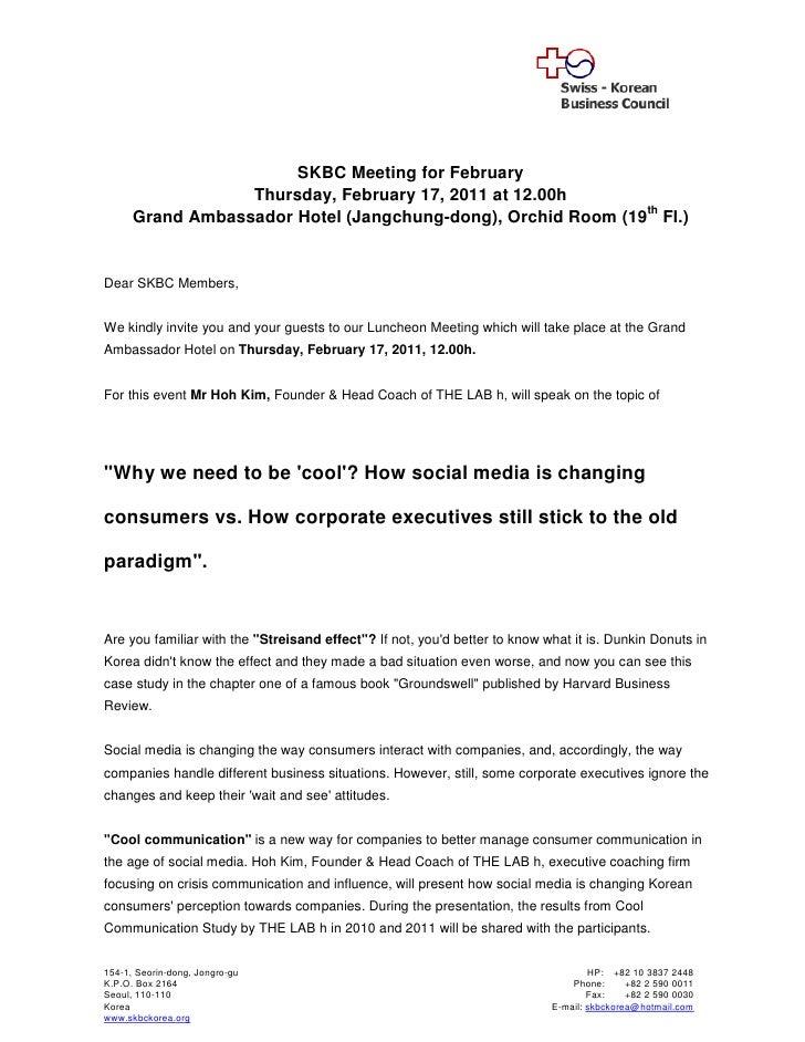 SKBC Meeting for February                  Thursday, February 17, 2011 at 12.00h      Grand Ambassador Hotel (Jangchung-do...