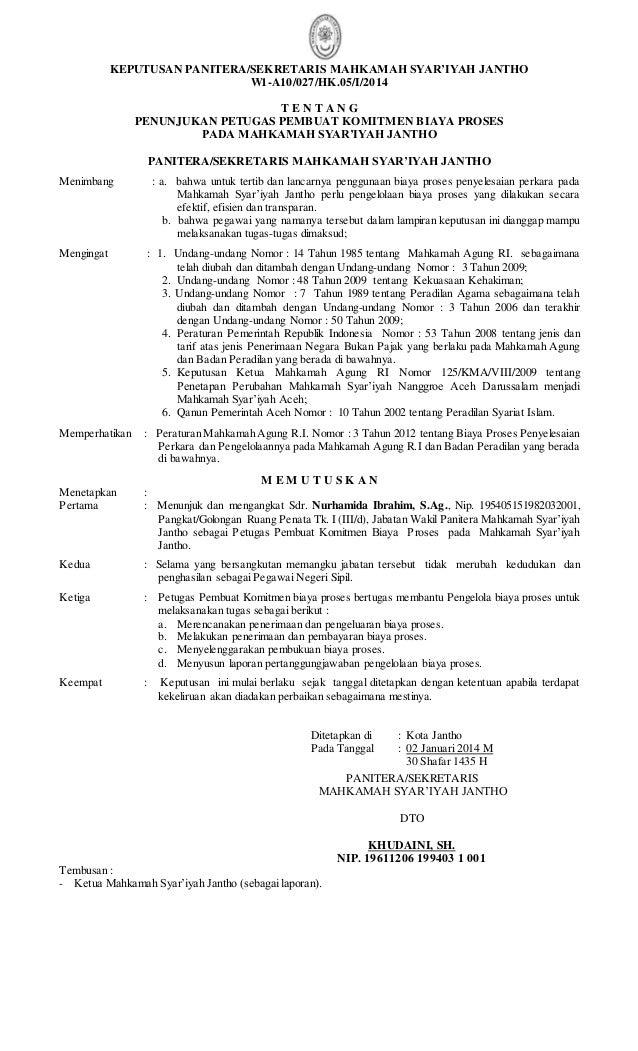 KEPUTUSAN PANITERA/SEKRETARIS MAHKAMAH SYAR'IYAH JANTHO  W1-A10/027/HK.05/I/2014  T E N T A N G  PENUNJUKAN PETUGAS PEMBUA...