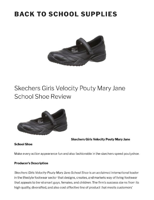 Skechers VELOCITY POUTY Girls Leather Lightweight School Mary Jane Shoes Black