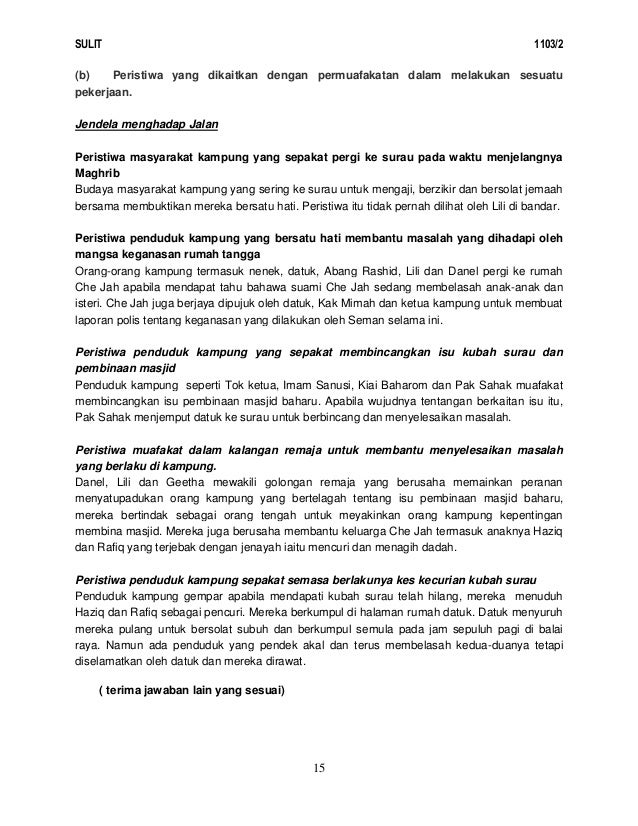 Skema Jawapan Novel Jendela Menghadap Jalan - F44mo4ow
