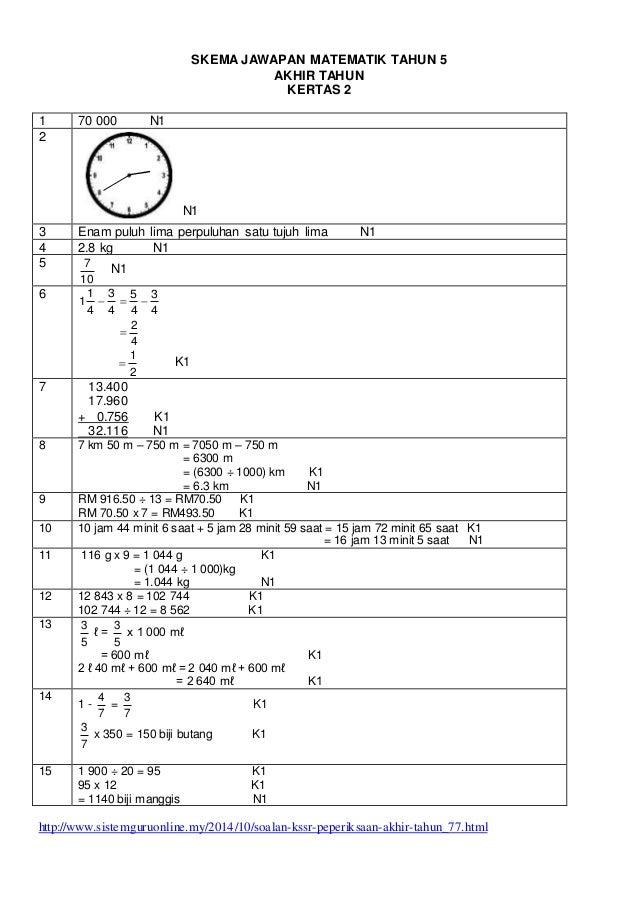 Skema Jawapan Kertas Ujian Matematik Kertas 2 Tahun 5 Kssr