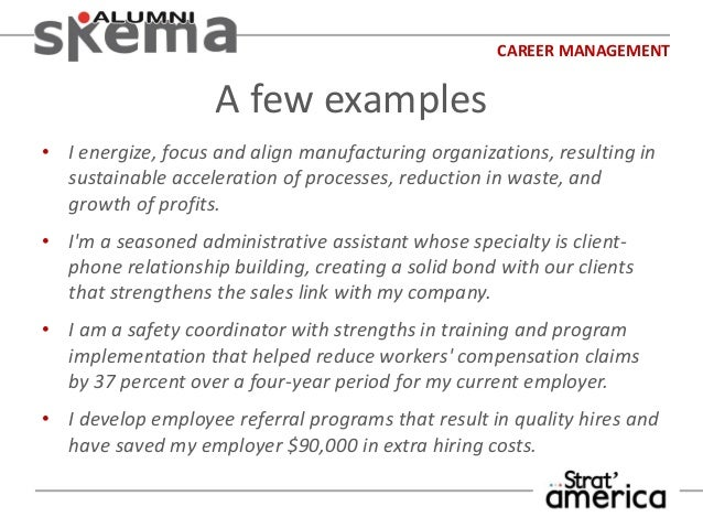 CAREER MANAGEMENT A Few Examples ...  Career Focus Examples