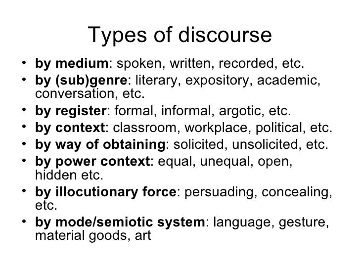 what are the different types of discourse