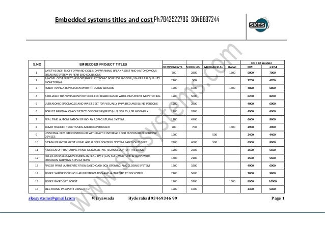 Embedded systems titles and cost Ph:7842522786 9948887244  S.NO 1 2  EMBEDDED PROJECT TITLES  COMPONENTS  SAFETY BENEFITS ...