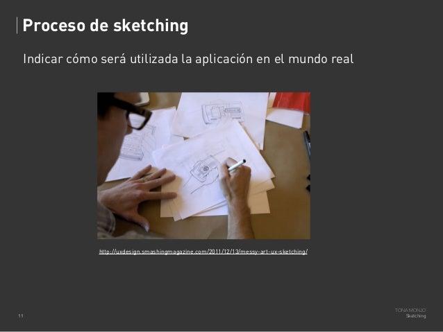 Proceso de sketching Indicar cómo será utilizada la aplicación en el mundo real  http://uxdesign.smashingmagazine.com/2011...