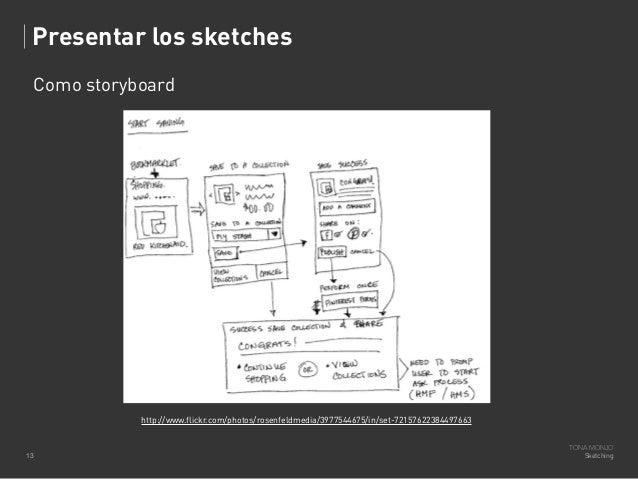 Presentar los sketches Como storyboard  http://www.flickr.com/photos/rosenfeldmedia/3977544675/in/set-72157622384497663  1...