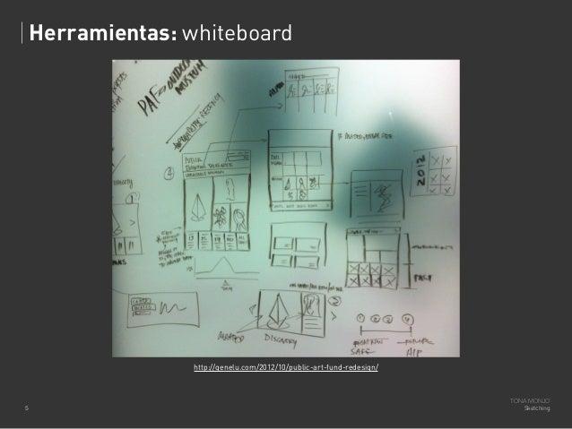 Herramientas: whiteboard  http://genelu.com/2012/10/public-art-fund-redesign/  5  TONA MONJO Sketching