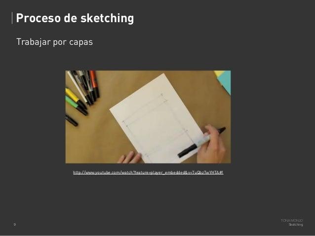 Proceso de sketching Trabajar por capas  http://www.youtube.com/watch?feature=player_embedded&v=TuQbzTwYHTA#!  9  TONA MON...