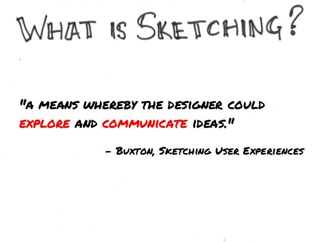 Sketching is about the not the artifact.  ACTIVITY